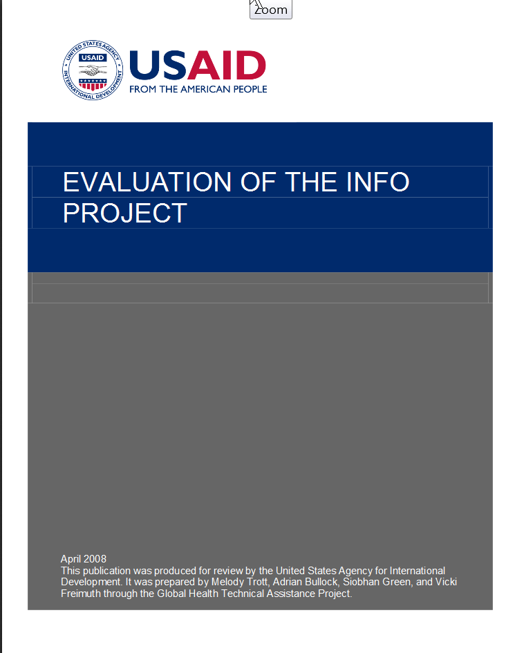 Global Health, Office of Population and Reproduction Health Evaluation of INFO Project