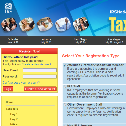 IRS Tax Forum Registration Management
