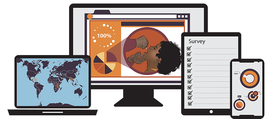 illustration of computer with world map, digital dashboard and a boy getting vaccine converted into data point